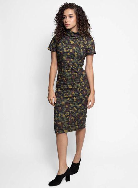 Nicole Miller Flower Camo High Neck Dress Camouflage