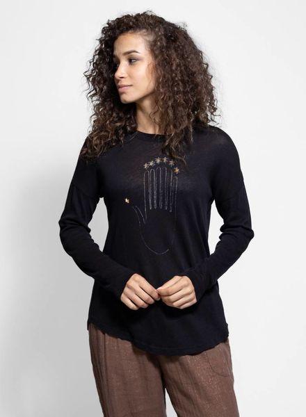 Raquel Allegra Long Sleeve Tee Black Print