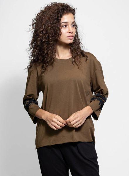 Raquel Allegra 3/4 Sleeve Boxy Tee Army