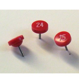 Moore Push Pin Large Numbered Maptacks,  Red with White Numerals