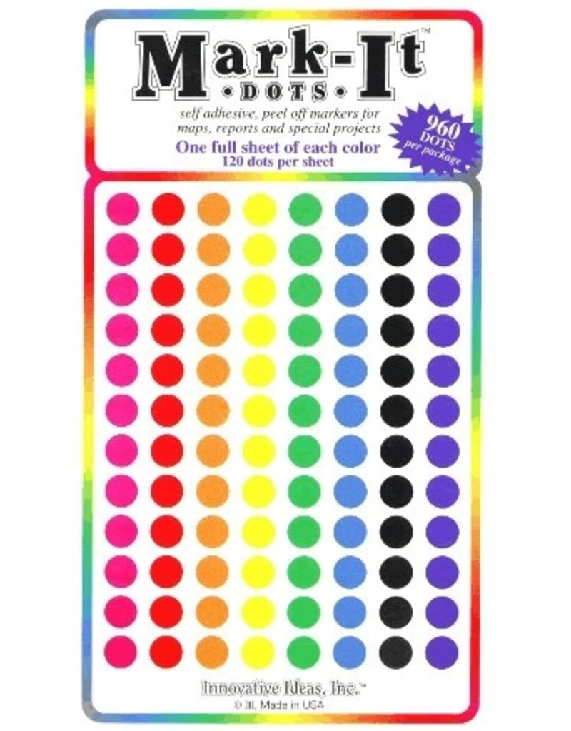Mark-It Stickers 1/4 inch Sticker Dots, Pack of 8 Colors #119