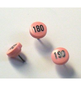 Moore Push Pin Large Numbered Maptacks, Pink with Black Numerals