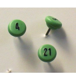 Moore Push Pin Large Numbered Maptacks, Light Green with Black Numerals