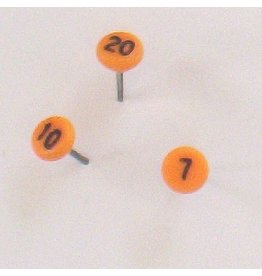 Moore Push Pin Small Numbered Maptacks, Orange with Black Numerals
