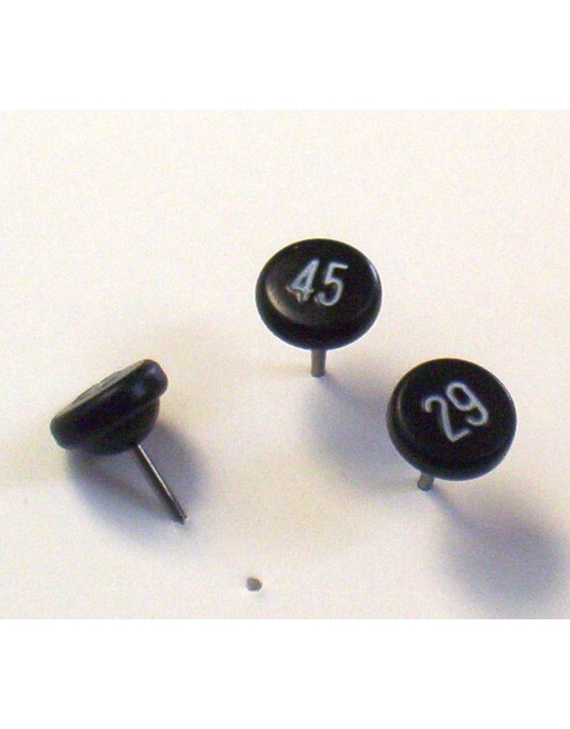 Moore Push Pin Large Numbered Maptacks, Black with White Numerals