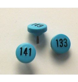 Moore Push Pin Large Numbered Maptacks, Light Blue with Black Numerals