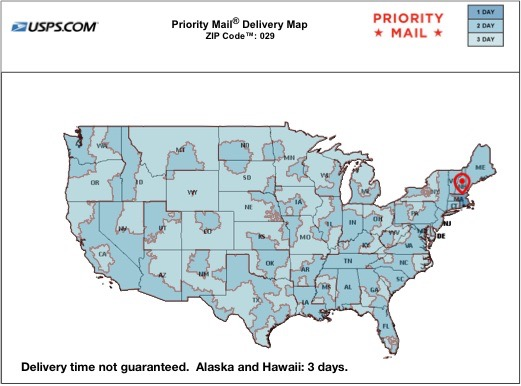 map of delivery times for Priority Mail