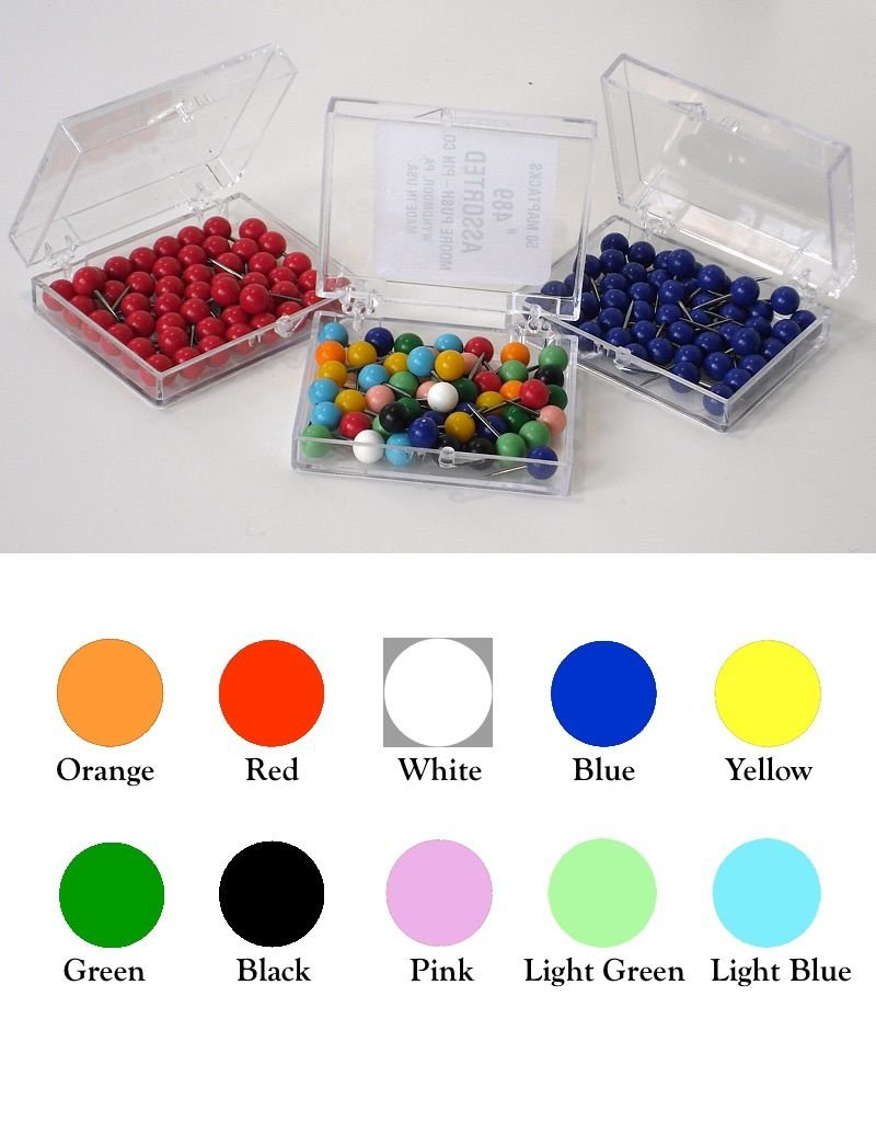 Moore Push Pin Large Ball Shaped Maptacks - 10 colors available