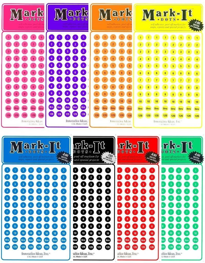 Mark-It Stickers Numbered Dot Stickers 1-240, Choose a Color