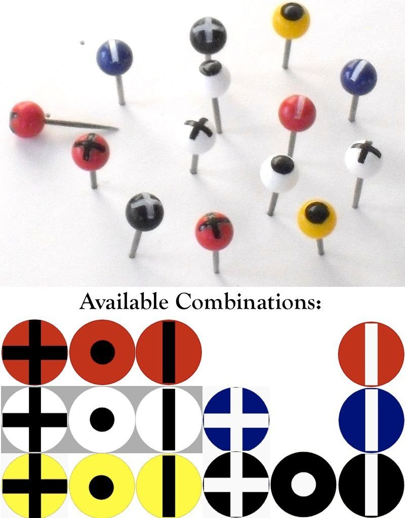 Moore Push Pin Ball Shaped Maptacks with Crosses, Dots and Stripes - 15 combinations available