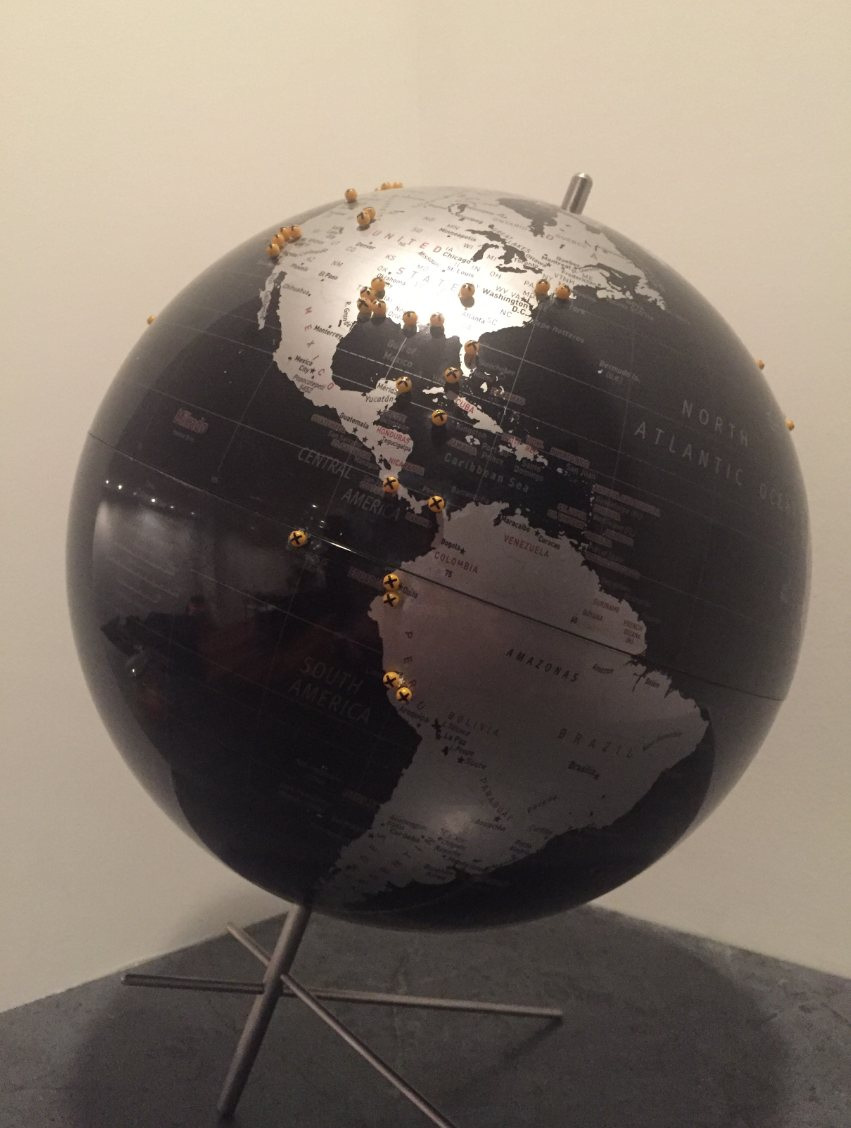 pinpoint locations on a globe
