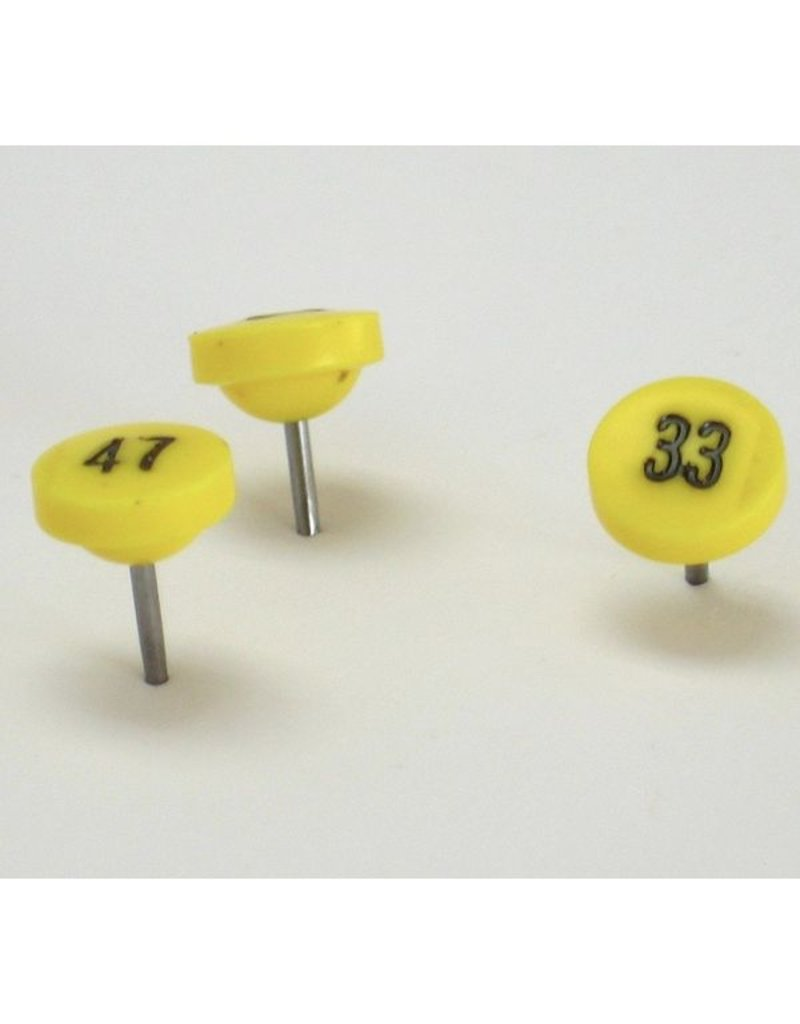 Moore Push Pin Large Numbered Maptacks, Yellow with Black Numerals