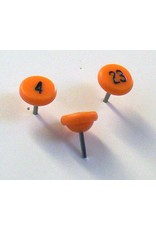 Moore Push Pin Large Numbered Maptacks, Orange with Black Numerals