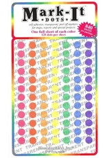 Mark-It Stickers 1/4 inch Transparent Dots, Pack of 7 Colors  #118
