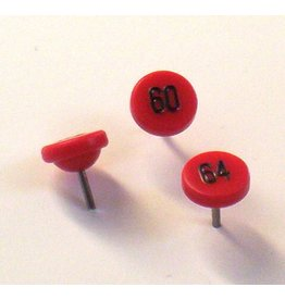 Moore Push Pin Large Numbered Maptacks,  Red with Black Numerals