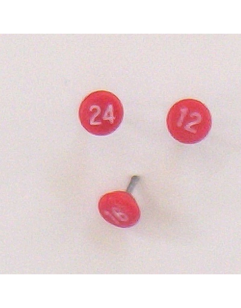 Moore Push Pin Small Numbered Maptacks, Red with White Numerals