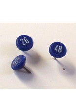 Moore Push Pin Large Numbered Maptacks, Blue with White Numerals