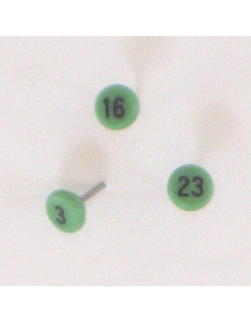 Moore Push Pin Small Numbered Maptacks, Light Green with Black Numerals