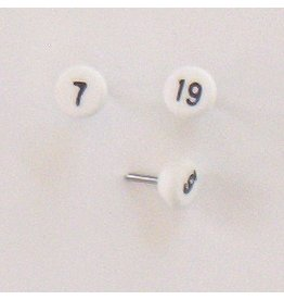 Moore Push Pin Small Numbered Maptacks, White with Black Numerals
