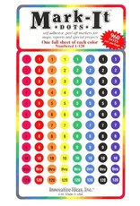 Mark-It Stickers Numbered Dot Stickers, 1-120, Pack of 8 Colors #129