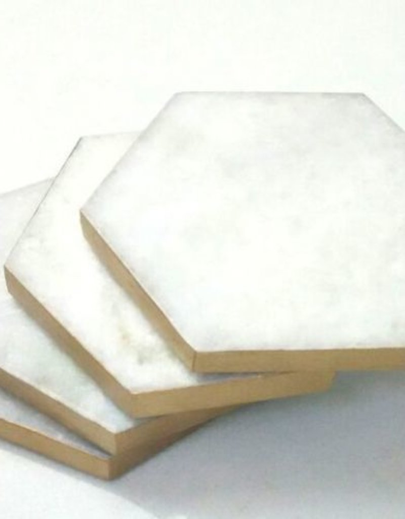 Gold-Rimmed Marble Hex Coasters Set
