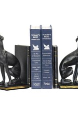 Greyhound Bookends In Black With Gold Accents - Pair