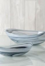 Large alabaster oval plate, grey