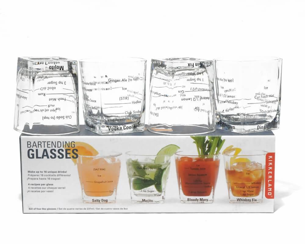 Kikkerland Bartending Glasses S/4