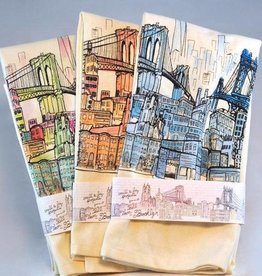 Brooklyn Bell Tower Brooklyn Landscape Printed Tea Towel - Colored