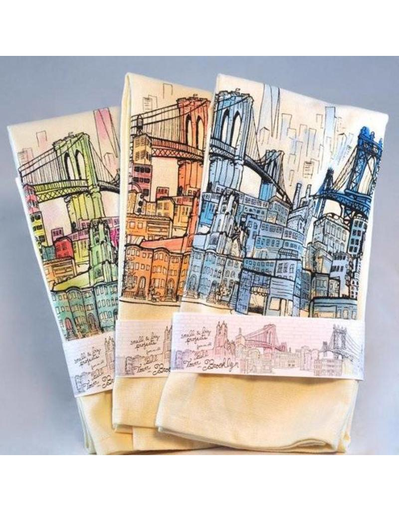 Brooklyn Bell Tower Brooklyn Landscape Printed Tea Towel - Colored