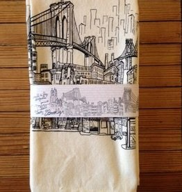 Brooklyn Bell Tower Brooklyn Landscape Printed Tea Towel B&W