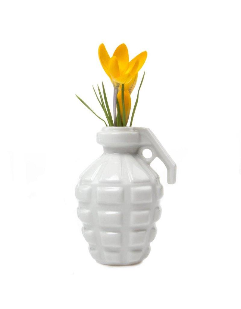 Grenade Vase in White