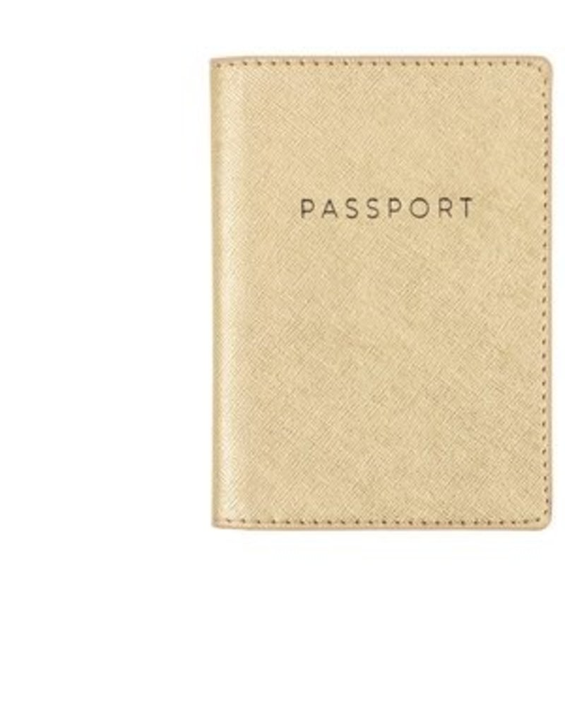 Faux Leather Gold Passport Case