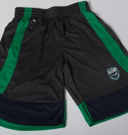 Colosseum Youth Shorts - Grey with Green Stripe