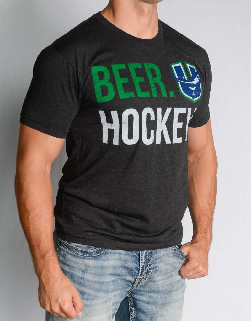 108 Stitches Beer Hockey Black T-Shirt w/ U Logo