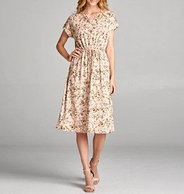 Tea N Rose Floral Midi Dress with Cuffed Sleeves and Drawstring