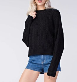 Honey Punch Oversized Cable Knit Pullover Sweater