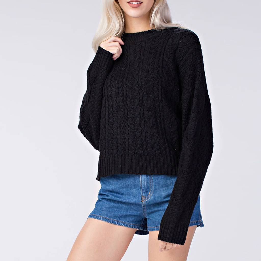 Honey Punch Oversized Cable Knit Pullover Sweater - Virtue Boutique