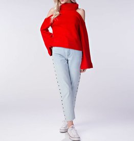 Honey Punch Cold Shoulder Knit Turtleneck Sweater with Bell Sleeves
