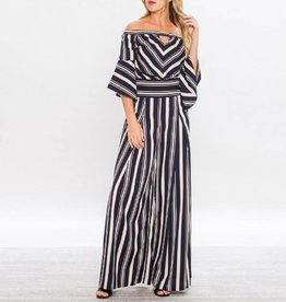 Flying Tomato 2pc Striped Palazzos + Cropped Bell Sleeve Top