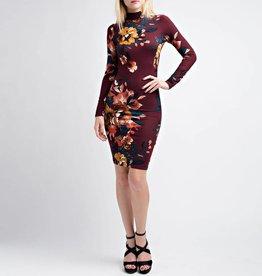 Hot & Delicious Mock Neck Keyhole Floral Bodycon Dress