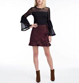 Hot & Delicious Ruffled Hem Wrap Mini Skirt