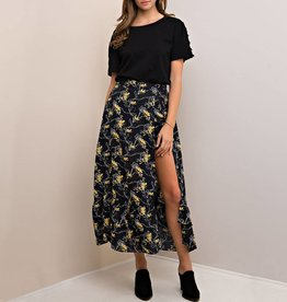 Entro Floral Tiered Midi Skort with Side Slit