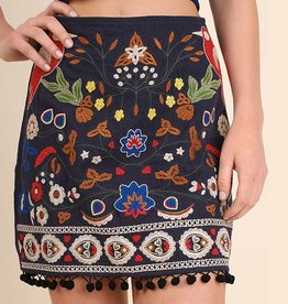 Umgee High Waist Floral Embroidered Mini Skirt with Pom Pom Trim