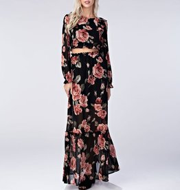 Honey Punch Sheer Floral Ruffle Maxi Skirt