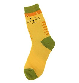 Foot Traffic Yellow Kitty Women's Socks
