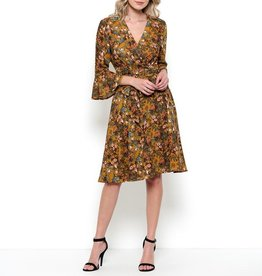 Esley Floral Print Bell Sleeve Wrap Dress