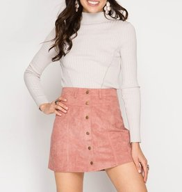 She & Sky Faux Suede Snap Button Mini Skirt