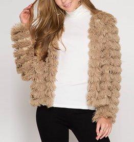 She & Sky Long Sleeve Layered Shag Jacket