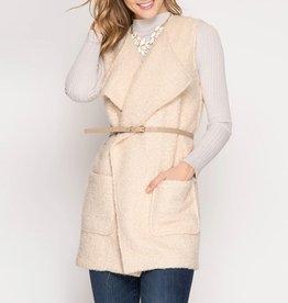 She & Sky Sleeveless Faux Woolen Wrap Jacket with Skinny Belt
